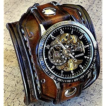 Steampunk Leather Wrist Watch, Skeleton Men's watch, Aged brown Leather Cuff, Bracelet Watch, Watch Cuff