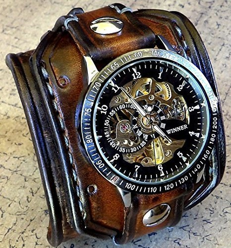 Steampunk Leather Wrist Watch, Skeleton Men's watch, Aged brown Leather Cuff, Bracelet Watch, Watch Cuff	 0