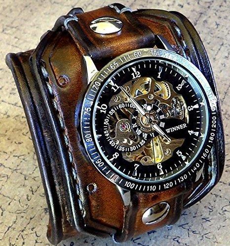 Steampunk Leather Wrist Watch, Skeleton Men's watch, Aged brown Leather Cuff, Bracelet Watch, Watch Cuff 0