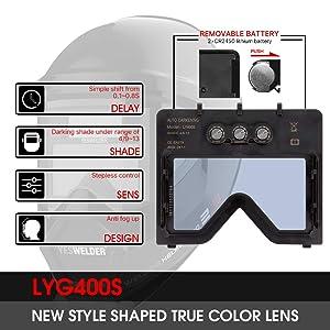YESWELDER Anti Fog Up True Color Solar Powered Auto Darkening Welding Helmet with SIDE VIEW,4/9-13 Welder Mask for TIG MIG ARC