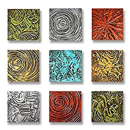 Neron Art - Handpainted Abstract Oil Painting on Gallery Wrapped Canvas Group of 9 pieces - Leeds 36X36 inch (91X91 cm)