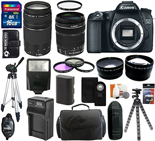 Canon Eos 70D 20.2 Mp Digital Slr Camera Body With Dual Pixel Cmos Af And Ef-S 18-135Mm F/3.5-5.6 Is Stm Kit + Ef 75-300Mm F/4-5.6 Iii Telephoto Zoom Lens + 16Gb Card + Flash + Tripod + Battery And Charger + Case + Filter Kit + Hand Grip + Shutter Release