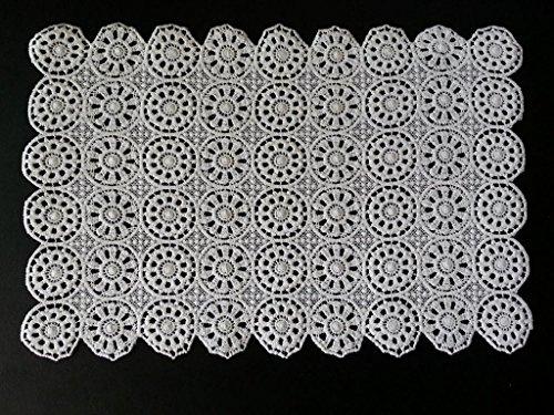 Hand Crochet 100% Baumwolle 12 x 19 Zoll (30cm x 47cm) Tischset Tischsets mit Blumen-Muster 54 - 2PC # (weiß)