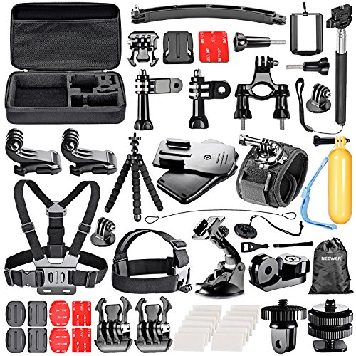 Neewer® 53-in-1 Kit di Accessori per Sport per GoPro Hero4 Session Hero1 2 3 3+ 4 SJ4000 5000 6000 7000 Xiaomi Yi Sony Olympus Action Cam, iPhone 6s Plus 6s 6Plus 6 5 5s 5c 4s 4 Samsung S5 S6 S6
