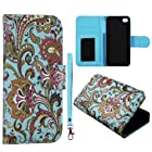 Blue Paisley Design Leather Wallet Flip ID Pouch Apple Iphon 5, 5S at&t. Verizon, Sprint, C Spire Case Cover Hard Phone Case Snap-on Cover Protector Rubberized Touch Faceplates