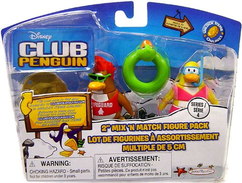 Disney Club Penguin Series 4 Mix 'N Match Mini Figure Pack Lifeguard and Snorkeler (Includes Coin with Code!)