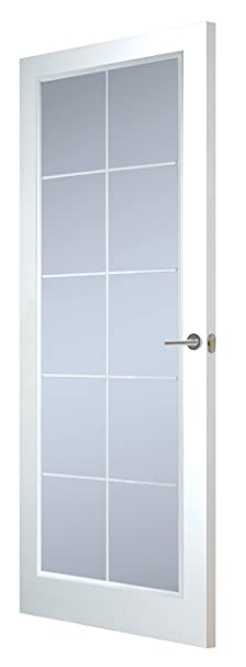 Premdor 59910 838 x 1981 x 35 mm Manhattan 10 Light Clear Glazed Textured Interior Door