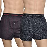 Calvin Klein Slim Fit Woven Boxers 2-pack Mens Size X-large Black/red