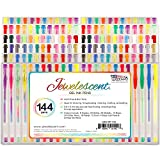 US Art Supply Jewelescent 144 Gel Pen Set - Professional Artist Quality Gel Ink Pens in Vibrant Colors - Classic, Glitter, Metallic, Neon, Pastel, Swirl, and Dye Colors - 100% Satisfaction Guarantee
