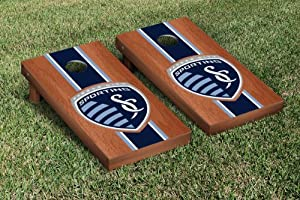 Sporting Kansas City SC Wizards Cornhole Game Set Rosewood Stained Stripe Version by Gameday Cornhole
