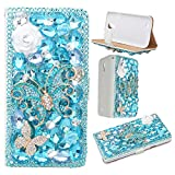 Spritech(TM) 3D Handmade Pure White Crystal Flower Blue Butterfly Diamond Design Leather Wallet Case for Samsung Galaxy S4 I9500 - Best Reviews Guide