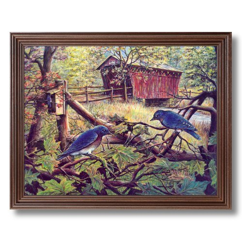 Framed Cherry Victorian Country Bluebirds Trees Bridge Pictures Art Print