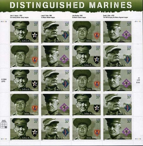 US Stamp - 2005 Distinguished Marines - 20 Stamp Sheet #3961-4 - 1