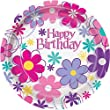 18cm Birthday Blossom Party Plates, Pack of 8
