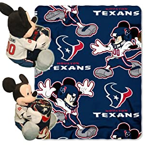 NFL Houston Texans Mickey Mouse Pillow with Fleece Throw Blanket Set by Northwest