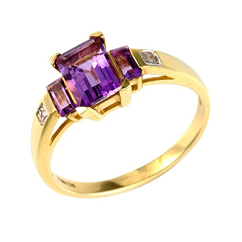 Ivy Gems 9ct Yellow Gold Princess Cut Amethyst and Diamond Ring