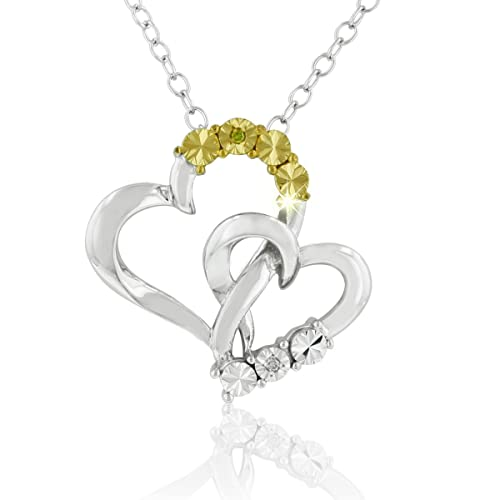 DiAura-Two-Tone-Diamond-Accent-Heart-Pendant-Necklace-In-Sterling-Silver-18-