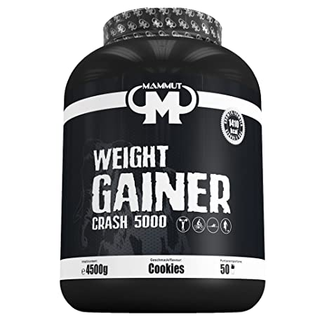 Mammut Weight Gainer Crash 5000 Cookies Kohlenhydrate Masseaufbau Kreatin, 1er Pack (1 x 4.5 kg)