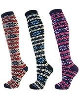 RJM Ladies Womens 3 Pairs Fairisle Design Cotton Rich Knee High Socks SK238