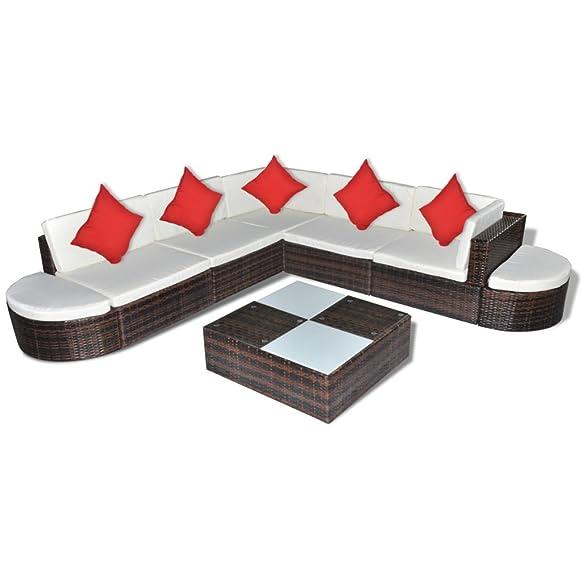 Anself 27 pz set mobili da giardino polirattan marrone