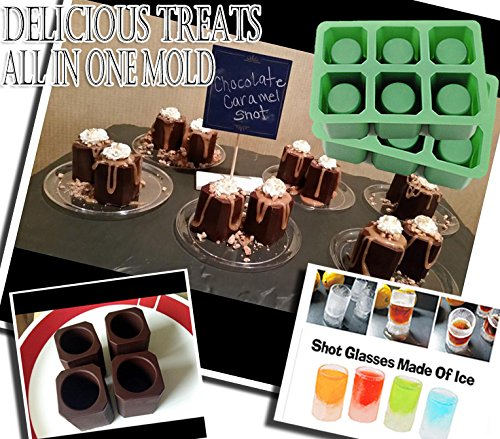 Double 2 Sets of 6 Cups Round Square Shape Ice Shot Glass Maker, Chocolate Mold, Jelly Ice Cube Tray. FDA Food Grade Silicone, Stylish Ice Mug Craft Tool in Sets Color: Green by DidaDi® (Train Rice Mold compare prices)