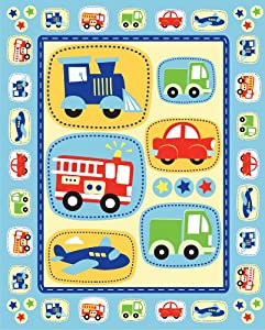 Train car planes quilting kids fabric panel by david for Kids train fabric