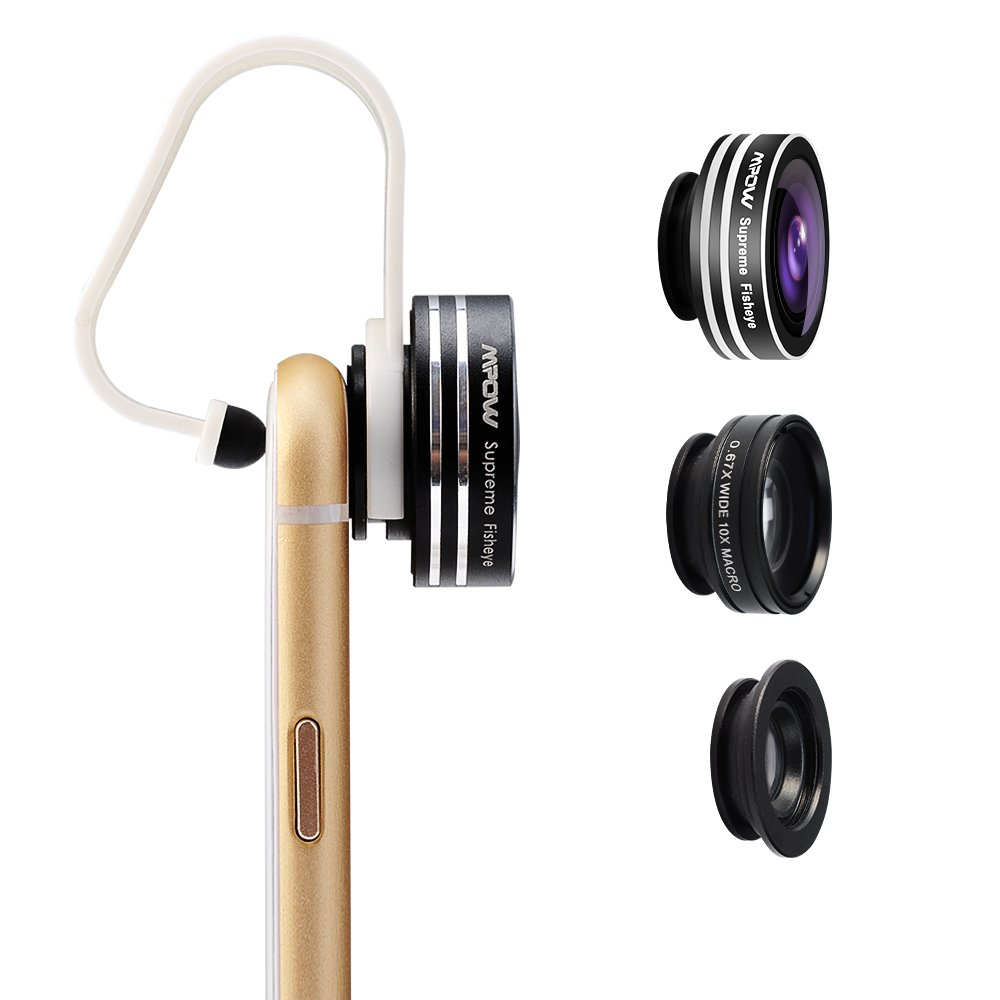 Mpow 3 in 1 Clip-On 180 Degree Supreme Fisheye Lens, 0.67X Wide Angle Lens, 10X Macro Lens kit for iPhone 6 / 6s/6Plus,iOS &Android Smartphones