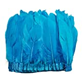 wanjin Duck Goose Feathers Trim Fringe Craft Feather Clothing Accessories Pack of 2 Yards(Turquoise) (Color: 1,turquoise)