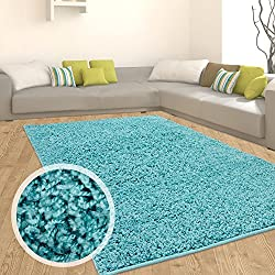 Teppich Shaggy Hochflor Einfarbig Flokati für verschiedene Zimmer Günstig Angebot Türkis 120x170 cm