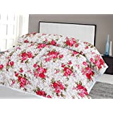 Lali Prints Pink Floral With Leaves Quilt A.C Blanket Double Bed Size Dohar