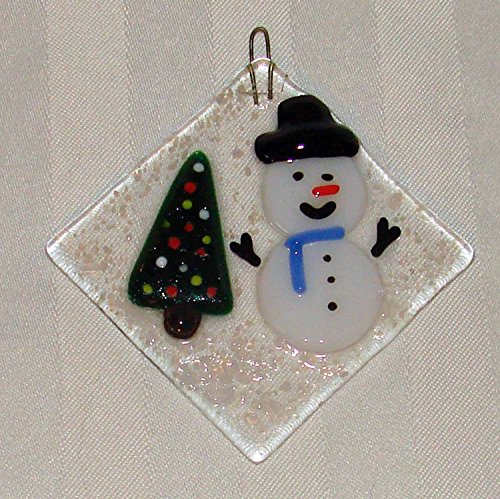 Snowman and a Tree Christmas Handmade Fused Glass Ornament Sun Catcher