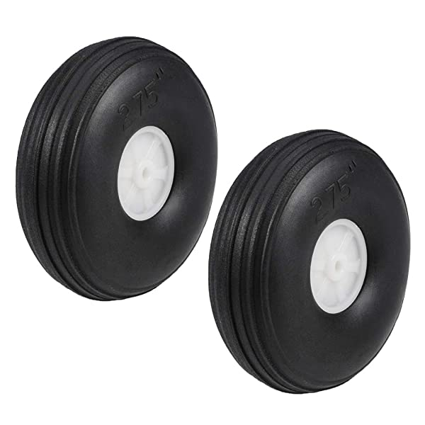 uxcell Tire and Wheel Sets for RC Airplane,PU Sponge Tire with Plastic Hub,2.75 inches 2pcs (Tamaño: 2.75 2pcs)
