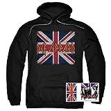 Def Leppard Logo Union Jack 80s Rock Pullover Hoodie Sweatshirt & Stickers (Small) (Color: Union Jack, Black, Tamaño: Small)
