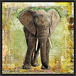 26in x 26in Elephant by Luz Graphic Studio - Black Floater Framed Canvas w/ BRUSHSTROKES