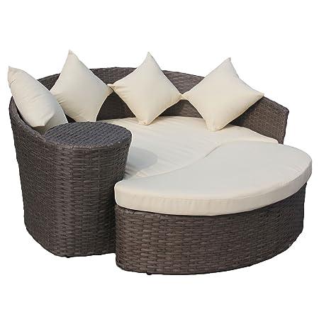 Gartensofa mit Hocker - Halbrunde Lounge-Insel - Polyrattan - Braun/Cremefarben