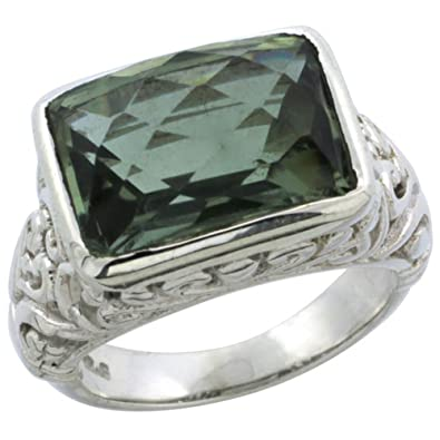 Revoni Sterling Silver Bali Inspired Rectangular Filigree Ring w/ 14x10mm Checkerboard Cut Natural Green Amethyst Stone, 15/32 in. (12mm) wide