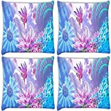 Snoogg Pink Petals Pack Of 4 Digitally Printed Cushion Cover Pillows 12 X 12 Inch