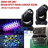 2pcs+flightcase 3D gobo light 280W beam spot wash zoom moving head light Stage show beam 280