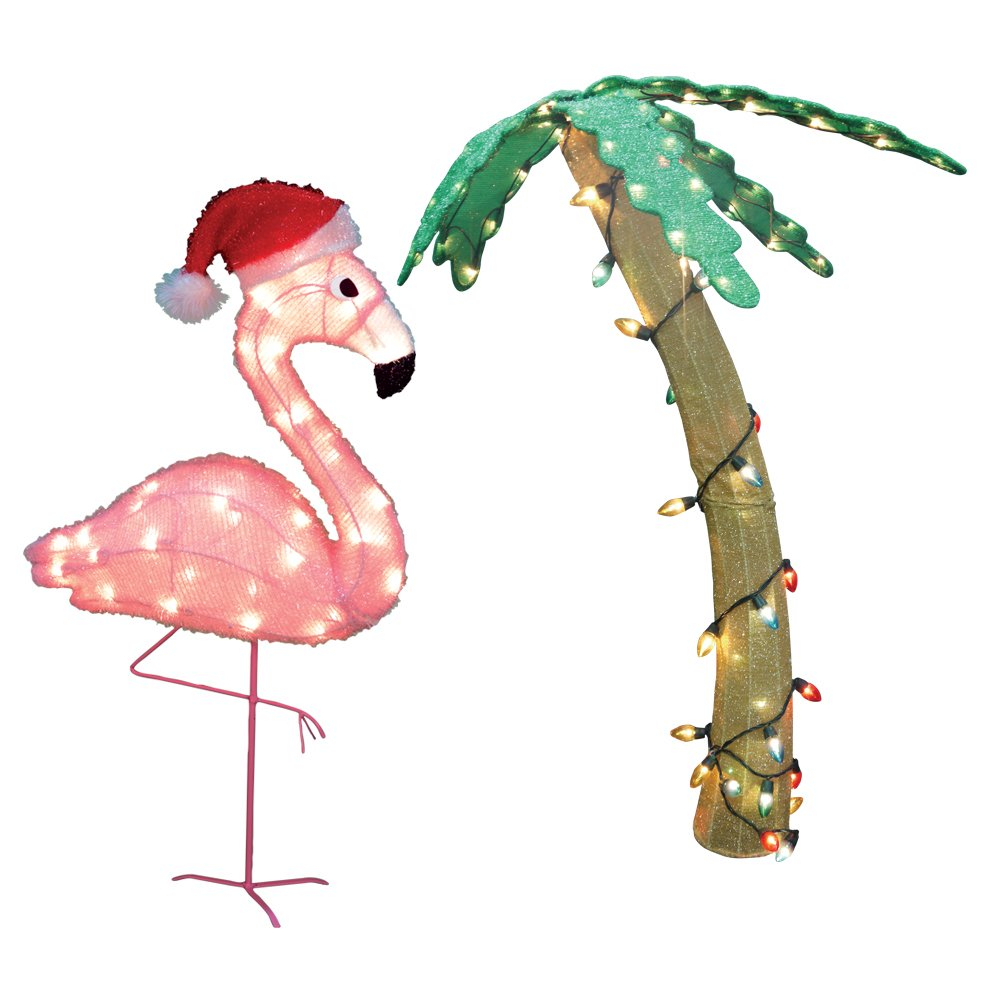 set of 2 pre lit soft tinsel palm tree and flamingo christmas yard art decorations clear lights turn up the heat on your holiday decorations with this