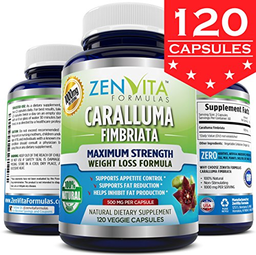 Pure Caralluma Fimbriata Extract 1000 mg - 120 Capsules, 10:1 Extract from Whole Cactus Plant, 1000 mg Per Serving Maximum Strength Natural Weight Loss Supplement, Appetite Suppressant, Fat Burner, Carb Blocker. 100% Money Back Guarantee! No Risk - Lose Weight or Your Money Back by ZenVita Formulas (Caralluma Extract 1000 compare prices)