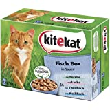 Kitekat Katzenfutter Fisch-Box in Sauce, 48 Beutel (4 x 12 x 100 g)