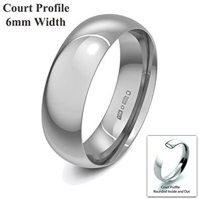 Xzara Jewellery - Palladium 950 6mm Court Profile Hallmarked Ladies/Gents 5.0 Grams Wedding Ring Band