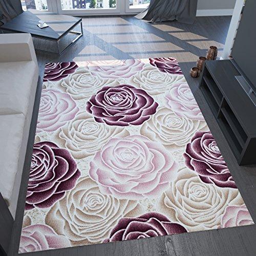 VIMODA saphir7622 Designer tappeto Modern, alto fondi effetto con strass, motivo con rose, la natur, rosa/crema, multicolore, 160 x 230 cm
