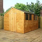 10ft x 8ft Shiplap Apex Wooden Storage Shed - Brand New Double Door 10x8 Tongue and Groove Sheds