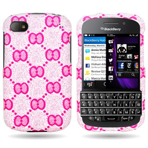 Coveron® Slim Hard Case For Blackberry Q10 With Cover Removal Tool - (Pink Bow)