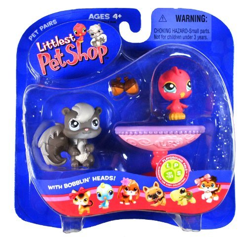 Hasbro Year 2006 Littlest Pet Shop Pet Pairs Playground Pals Series Collectible Bobble Head Pet Figure Set - Grey...