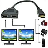 ZY HDMI Male to Dual HDMI Female 1 to 2 Way HDMI Splitter Adapter Cable for HDTV, Support Two TVs at The Same Time, Signal One in, Two Out(Black) (Color: Black)