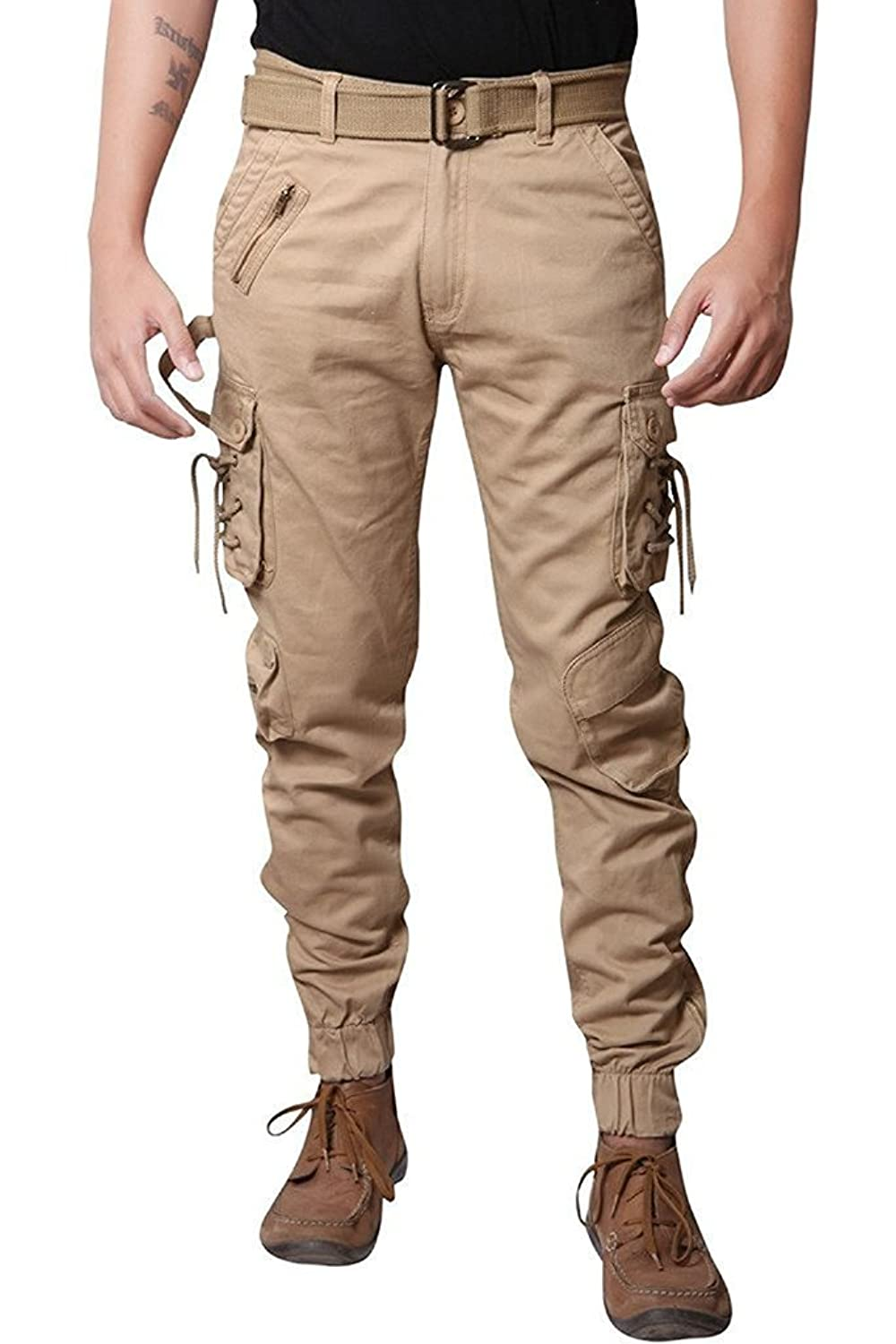 Jubination Men's Cotton Solid Relaxed Fit Zipper Cargo Jogger Pants