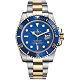 Rolex Submariner Blue Dial Stainless Steel and 18K Yellow Gold Rolex Oyster Automatic Mens Watch 116613BLSO (Color: Blue)