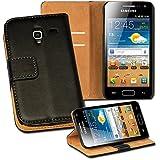 OneFlow PREMIUM - Book-Style Case im Portemonnaie Design mit Stand-Funktion - für Samsung Galaxy Ace Plus (GT-S7500) - SCHWARZ